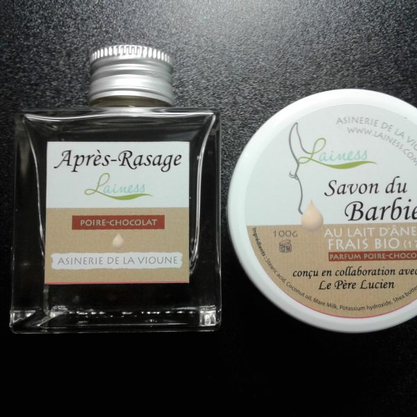ensemble-savon-du-barbier-au-lait-danesse-frais-bio-poire-chocolat-200g-et-son-apres-rasage-100ml
