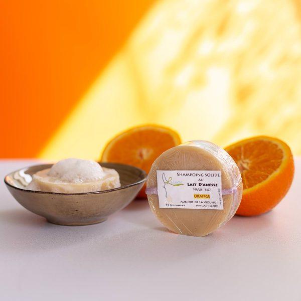 shampoing solide orange douce au lait d'ânesse bio 95g
